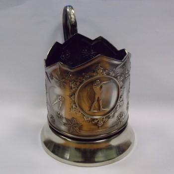 Подстаканник никелированный Биатлон с чернью