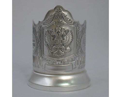 Подстаканник Герб России посеребренный с чернением Кольчугино