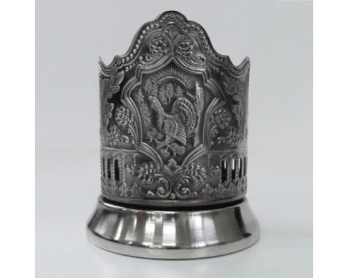 Подстаканник никелированный Глухарь с чернью