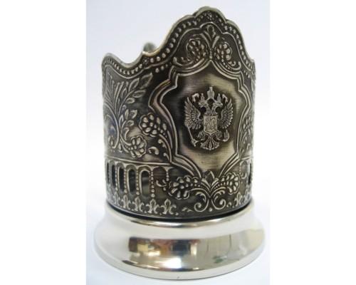 Подстаканник никелированный Герб с чернью