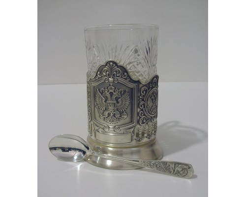 Набор для чая Герб Кольчугино из мельхиора посеребренный с чернением