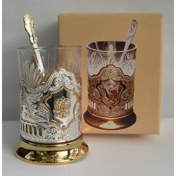 Набор для чая Герб Кольчугино из мельхиора посеребренный с частичной позолотой