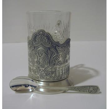 Набор для чая Кольчугинский зори посеребренный с чернением