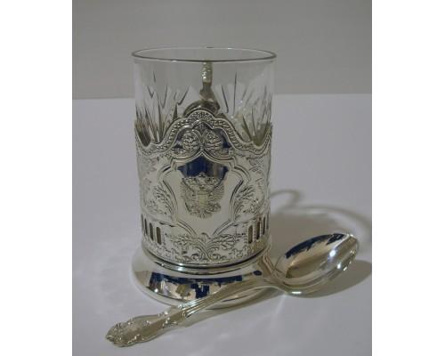 Набор для чая Герб Кольчугино из мельхиора посеребренный