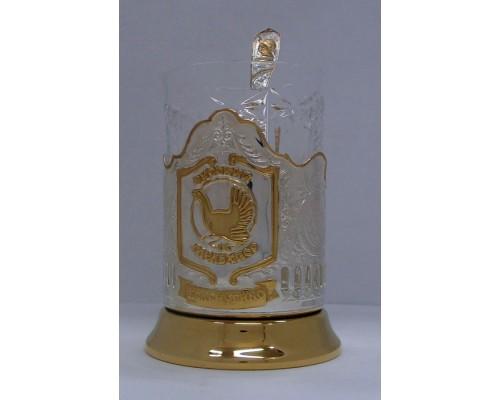 Набор для чая Русский мельхиор Кольчугино частично позолоченный