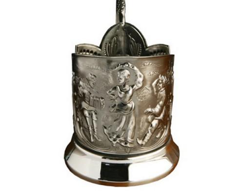 Подстаканник никелированный Русские Пляски с чернью