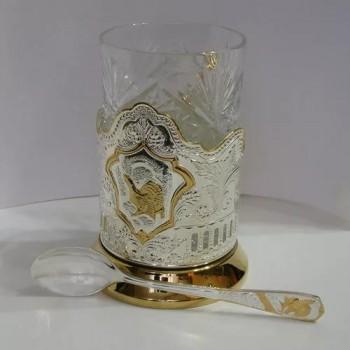 Набор для чая Кольчугинские зори посеребренный с частичной позолоченный
